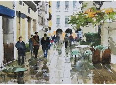 Exhibited at Royal Institute of Painters in Water Colours Exhibition, Reflections, Vicenza measures 51 x 60 cm and is available for Watercolor Landscape, Watercolor And Ink, Watercolor Paintings, Watercolours, Sketches Of People, Art Tips, Galleries, Mall, Reflection