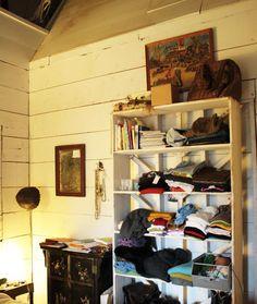 scott's clothing storage + curtain = solution!