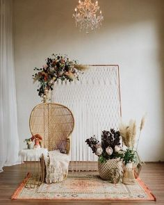 Backdrop backyerd arrangement Bohemian Vibes with Allure Bridals x Wilderly Bride Trendy Bohemian Wedding Decorations ❤️ bohemian wedding decorations bohemian chair macrame backdeop pampas grass flowers and carpet lauren rae photography We have collec Bohemian Wedding Decorations, Bridal Shower Decorations, Boho Wedding, Wedding Table, Dream Wedding, Wedding Country, Wedding Bride, Wedding Ceremony, Party Wedding