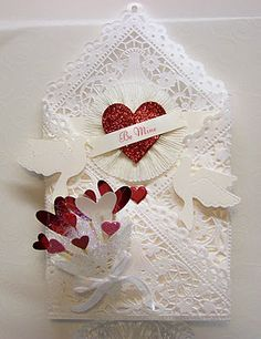 Beautiful Valentine paper lace envelope- can u imagine getting . anything for valentines day let alone this beautiful?