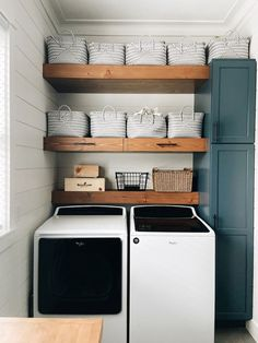 Laundry Room Colors, Small Laundry Rooms, Laundry Room Design, Wythe Blue, Beach House Tour, Door Paint Colors, Laundry Room Organization, Colorful Interiors, House Tours