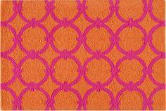 Hot Pink and Orange Hooked Rug