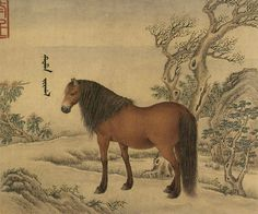 """Jean Denis Attiret (王致誠) , 十骏马图册 清 王致诚. He went to China in 1737 and was given the title """"Painter to the Emperor"""" by the Qianlong Emperor. Because the emperor insisted on the use of a Chinese painting methods and styles, Attiret's painting eventually became entirely Chinese in style. Most of his works were paintings of natural subjects such as trees, fruit, fish and other animals done on glass or silk."""