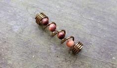 Dread Bead, Tarnished Brass, Wood Beads, Earthy Feel, Dreadlock Bead…                                                                                                                                                                                 More