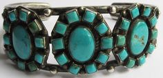 VINTAGE BEAUTY NAVAJO INDIAN STERLING SILVER MULTI TURQUOISE CUFF BRACELET