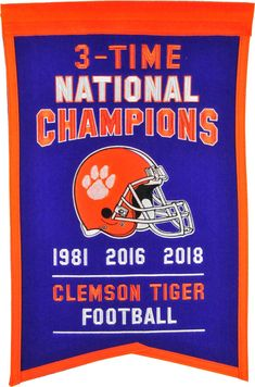 636352e563a Winning Streak Sports 2018 National Champions Clemson Tigers Championship  Banner National Championship