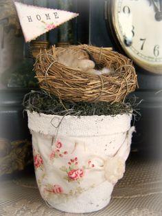 Spring Bird Flower Pot Vintage Peat Pot.
