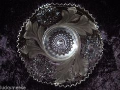 Rare-Millersburg-Crystal-Hobstar-Feather-Frosted-Four-7-1-2-Plate-Setting
