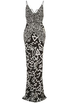 Unique Hieroglyphic Piped Maxi Dress, $330, available at Topshop