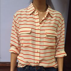"Equipment boyfriend silk red stripe top Button down long sleeve silk blouse. Never worn and brand new with tags. 25.5"" from top of shoulder to bottom of shirt hem. Equipment Tops Button Down Shirts"