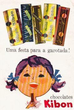 Cartaz com os chocolates da Kibon produzidos nos anos 50.
