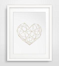 Heart Poster Geometric Heart Print by MelindaWoodDesigns on Etsy #heartposter #heartart #love