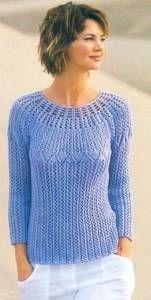 Size: You will need: г blue Jazz yarn cotton, poliacril, 125 Straight and circular knitting needles no. Crochet no. Crochet Cardigan, Knit Crochet, Lace Knitting, Knitting Patterns, Knitwear Fashion, Crochet Woman, Crochet Clothes, Clothing Patterns, Fall Outfits