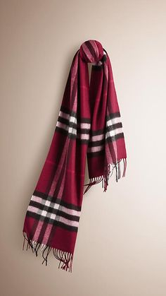 Pink Cashmere Classic Check Scarf Burberry