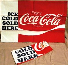 Beautiful NICE 2 ENJOY Coca Cola KITCHEN TOWELS Coke ICE COLD SOLD HERE