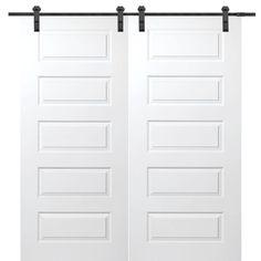 MMI Door 60 in. x 80 in. Primed Rockport Smooth Surface Solid Core Double Door with Barn Door Hardware Kit-Z009582 - The Home Depot