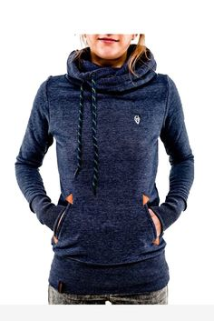 Navy Hooded Long Sleeve Turtleneck Sweater. Free 3-7 days expedited shipping to U.S. Free first class word wide shipping. Customer service: help@moooh.net