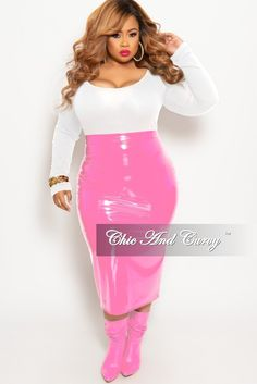 c5effc0cdfc Final Sale Plus Size Patent-Leather Pencil Skirt with Gold Back Zipper and  Bottom Slit in Pink