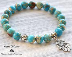 Imperial Jasper Hamsa Jewelry Charm bracelet Yoga bracelet Yoga Jewelry Mala beads Tibetan Bracelet Turquoise bracelet Hamsa bracelet