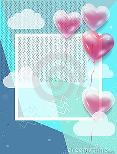 Happy father`s Day greeting card. 3D hearts, balloons, cloud, sky pattern. Vector illustration. Abstract design frame for gift cards, postcard, e-card, flyer, poster, invitation. Template. Memphis style, vintage, retro. Stationery. Rhombus pattern, Copy space, place for text.