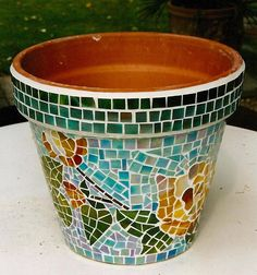 mosaic pots | Glass mosaic flower pot.