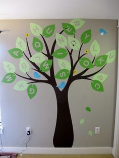 cute idea for in a Future baby room. when they are old enough to start learning their letters, make a game out of this.