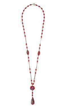 Czech Painted Bead Necklace by Carole Tanenbaum - Moda Operandi