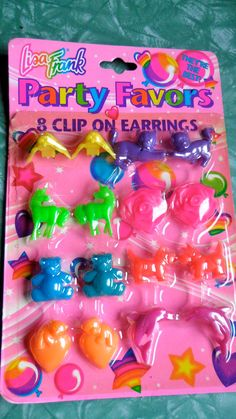 90s Lisa Frank Clip on Earrings. $5.00, via Etsy.
