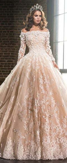7bed39cf5dd58 Lavish Tulle  amp  Satin Off-the-shoulder Ball Gown Wedding Dresses With  Lace