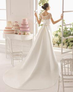 Charming Sheath/Column Scoop Neckline Watteau Train Short Sleeve Bow 2015 Wedding Dress