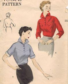 1950s Vogue 7198 Vintage Sewing Pattern Misses Blouse Size 14 Bust 32