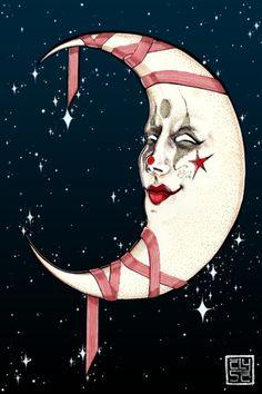 The Clown Moon Art Print by corinneelyse Moon Images, Moon Pictures, Sun Moon Stars, My Sun And Stars, Los Astros, Vintage Moon, Luna Moon, Moon Dance, Moon Illustration