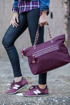 burgundy tousbags newbalance sneakers