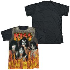 KISS/THROUGH THE FIRE-S/S ADULT WHITE FRONT BLACK BACK -WHITE