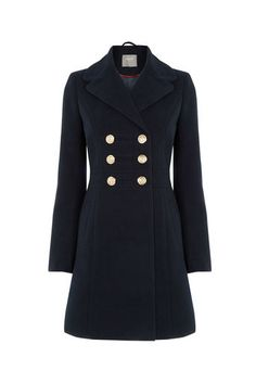 e389f6eeef3f Oasis, MARIE MILITARY COAT Navy Military Style Coats, Navy Coat, Blue Coats,