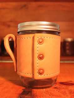 Natural Holdster Model 02: Rivet – Leather Mason Jar Holder