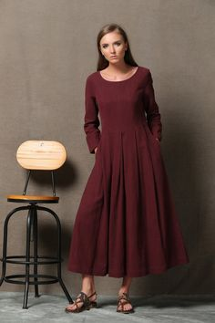 6f35998522e9 Burgundy Linen Dress Semi-Fitted Long Maxi Plus Size Φορέματα Για Γεμάτες
