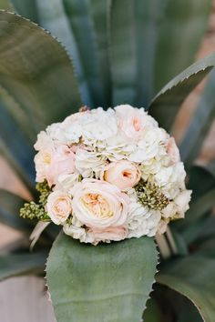 Simple wedding bouquet idea - pink + white peony, rose and hydrangea bouquet {The Flower Girl}