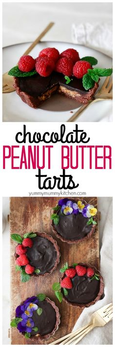 Rich chocolate peanut butter cup tarts made with an almond flour crust, nut butter filling, and luscious ganache. These no-bake tarts are are as delicious as they are beautiful. This recipe is vegan, gluten-free, and paleo friendly! These tarts are just like Hail Merry Miracle Tarts!