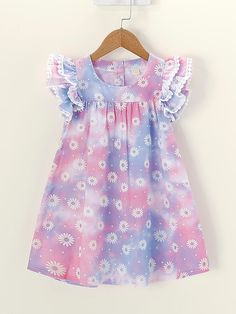 Product name: Toddler Girls Daisy Floral Print Ruffle Sleeve Dress at SHEIN, Category: Toddler Girl Dresses Cotton Frocks For Kids, Frocks For Girls, Little Girl Outfits, Toddler Girl Dresses, Baby Outfits, Kids Outfits, Girls Dresses, Toddler Girls, Dresses For Toddlers