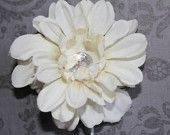 White/Ivory Floral Hair Clip with Faux Diamond Center