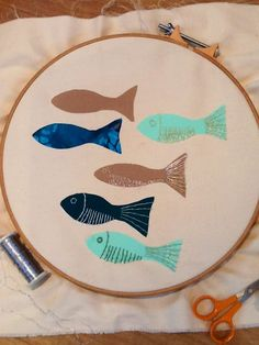 Start of fishy embroidery