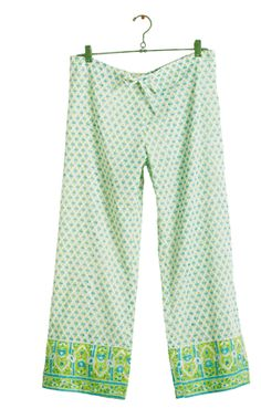 Dream in soft lounge pj pants. They have relaxed comfortable fit and pair perfectly with the Mughal Robe. Ankle length and have a drawstring at the elasticized waistband. 100% cotton voile. Machine wash cold, line dry. Made in India.