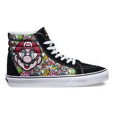 Vans and Nintendo come together to celebrate the early days of video games with a truly unique collaboration featuring one-of-a-kind graphic prints. Showcasing 8-bit artwork of Nintendo's iconic characters, the Nintendo Sk8-Hi Reissue combines the reissued legendary Vans high top with a classic controller print, canvas and suede uppers, padded collars, and custom GAME OVER signature rubber waffle outsoles.   See the entire Vans X Nintendo Collection here.