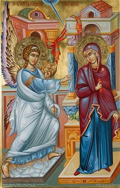 The Evangelization of the Virgin aka the Annunciation in the West. The Holy Archangel Gabriel announces to the Ever-Virgin: Rejoice, Full of Grace, the Lord is with Thee. Religious Pictures, Religious Icons, Religious Art, Archangel Gabriel, Archangel Michael, Byzantine Icons, Madonna And Child, Art Icon, Orthodox Icons