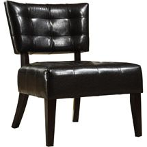 Elizabeth Armless Faux Leather Accent Chair   Dark Brown   Inspire Q
