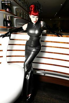 My favorite fashion is always something long and clingy - this sexy black latex gown more than fits the bill