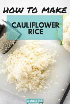 """How to Make Cauliflower Rice Does Cauliflower Rice taste just like rice? Of course not! Don't be silly. But I promise it IS delicious, and is a great low carb substitute for any recipe you want to serve """"over rice"""" when you are trying to cut calories. How To Prepare Cauliflower, Tasty Cauliflower, How To Cook Cauliflower, Gf Recipes, Aloo Recipes, Healthy Recipes, Milk Recipes, Copycat Recipes, Recipes Dinner"""