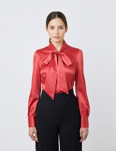 Satin Blouses, Red Blouses, Blouses For Women, Sexy Blouse, Bow Blouse, Hawes And Curtis, Fashion Design Portfolio, Satin Shirt, Beautiful Blouses