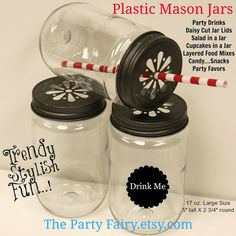 Plastic Mason Jars with Free Daisy Lids in Pewter or Gold,  6 Plastic UNBREAKABLE, Mason Drink Jar, Salads, Cupcakes, Food Jar, Party Drinks via Etsy